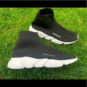 BALENCIAGA black and white speed trainers NEW